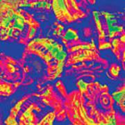 Abstract Multi-colors Metal Junk Art Print