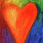 Abstract Orange Heart 1 Art Print