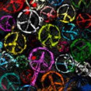 Abstract Peace Signs Collage Art Print