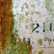 Rust Absract With Stenciled Numbers Art Print