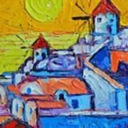Abstract Santorini Sunset Oia Windmills  Art Print