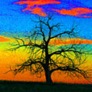 Abstract Single Tree Strong Colors Art Print