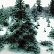 Abstract Snowy Trees Lighter Art Print