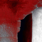 Abstract Square Red Black White Grey Textured Window Alcove 2a Art Print