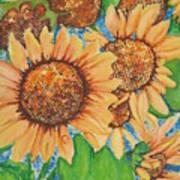 Abstract Sunflowers Art Print