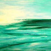 Abstract Sunset In Blue And Green Art Print