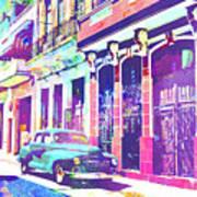 Abstract Watercolor - Havana Cuba Classic Car I Art Print