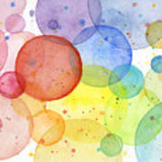 Abstract Watercolor Rainbow Circles Art Print