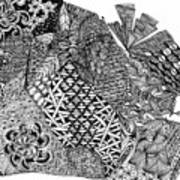 Abstract Zentangle Inspired Design In Black And White Art Print