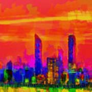 Abu Dhabi Skyline - Da Art Print