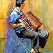 Accordian Player Art Print