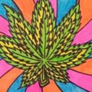 Aceo Cannabis Abstract Leaf  Art Print