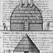Acolapissa Temple & Cabin Art Print