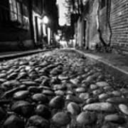 Acorn Street Cobblestone Detail Boston Ma Black And White Art Print