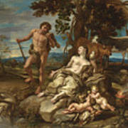 Adam And Eve With The Infants Cain And Abel Art Print