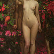 Adam And Eve With The Snake Art Print
