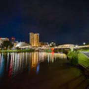 Adelaide Riverbank At Night Vi Art Print
