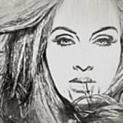Adele Charcoal Sketch Art Print