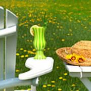 Adirondack Chair On The Grass  Art Print