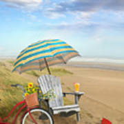 Adirondack Chair With Bicycle And Umbrella By The Seaside Art Print