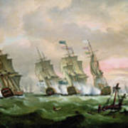 Admiral Sir Edward Hawke Defeating Admiral De Conflans In The Bay Of Biscay Art Print by Thomas Luny