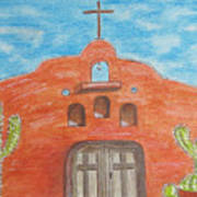 Adobe Church And Cactus Art Print