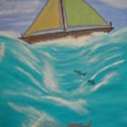 Adrift At Sea Art Print