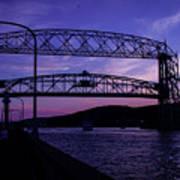 Aerial Lift Bridge At Sundown Art Print