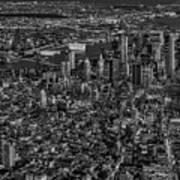 Aerial New York City Sunset Bw Bw Art Print