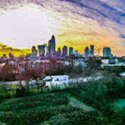 Aerial Of Charlotte North Carolina Skyline Art Print