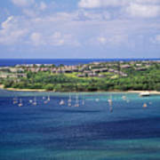 aerial of  Hanalei Bay and Princeville Resort Art Print