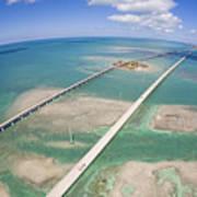 Aerial Of Seven Mile Bridge At Extreme Art Print