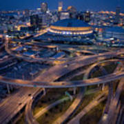 Aerial Of The Superdome In The Downtown Print by Tyrone Turner
