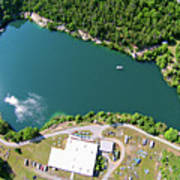 Aerial Over Blue Stone Quarry In North Carolina Art Print