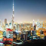 Aerial Panorama View Of Dubai By Night Art Print