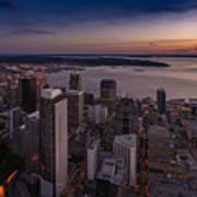 Aerial Seattle Westward View Art Print