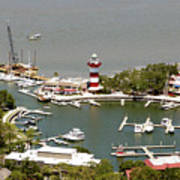 Aerial View Harbour Town Lighthouse In Hilton Head Island Art Print