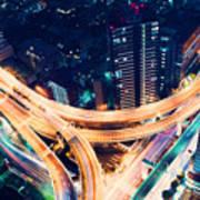 Aerial-view Highway Junction At Night In Tokyo Japan Art Print
