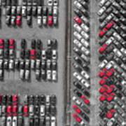 Aerial View Lot Of Vehicles On Parking For New Car.  Art Print