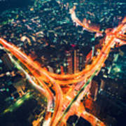 Aerial View Of A Massive Highway Intersection In Tokyo Art Print