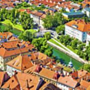 Aerial View Of Ljubljana Green River Art Print