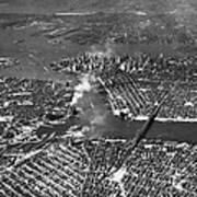 Aerial View Of Lower Manhattan Art Print