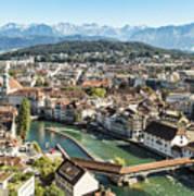 Aerial View Of Lucerne In Switzerland.  Art Print