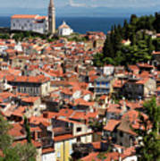 Aerial View Of Piran Slovenia With St George's Cathedral On The  Art Print