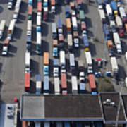 Aerial View Of Semi Trucks At Port Art Print by Don Mason