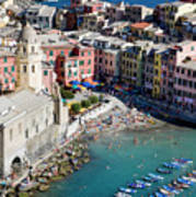 Aerial View Of Vernazza, Cinque Terre, Liguria, Italy Art Print