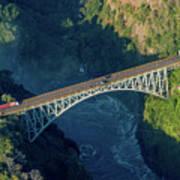 Aerial View Of Victoria Falls Suspension Bridge Art Print