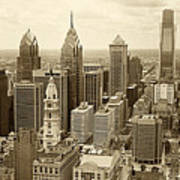 Aerial View Philadelphia Skyline Wth City Hall Art Print