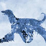 Afghan Hound-blue Art Print