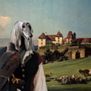 Afghan Hound-falconer And Castle Canvas Fine Art Print Art Print